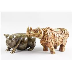 Chinese Hardstone Carved Pig and Rhino Figures