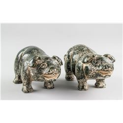 Pair Chinese Dark Green Stone Carved Pig