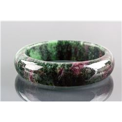 Chinese Green and Lavender Jade Carved Bangle
