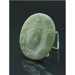 Chinese Fine Green Jadeite Guanyin Pendant