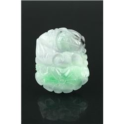 Chinese Green Jadeite Carved Lotus Pendant