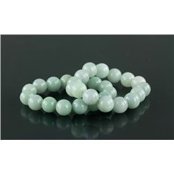 Pair of Chinese White Jadeite Bracelets