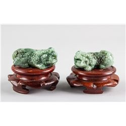 Pair Burma Green Jadeite Carved Guardian Lion