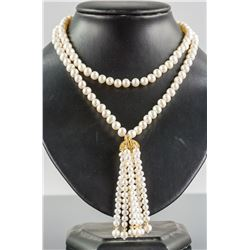 Silver Clasp Double Stone Pearl Necklace CRV $989