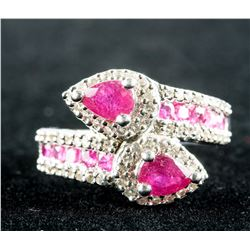 3ct Ruby & Zirconia Sterling Silver Ring CRV $900
