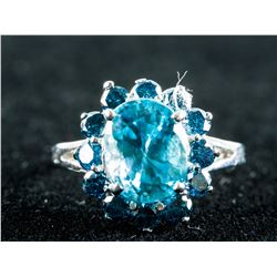 5ct Natural Blue Zircon&1ct Diamonds Ring CRV$5400