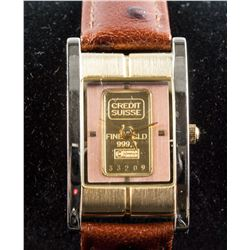 Credit Suiss 1g Fine 999.9 Gold Ingot Watch w/cert