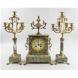 1878 French Table Clock Garniture Set