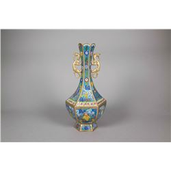 Chinese Bronze Cloisonne Hexagon Vase Qianlong
