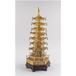 Chinese Gilt Wire Woven Pagoda with Wood Stand