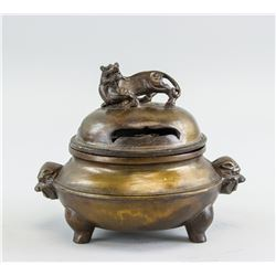 Chinese Bronze Tiger Tripod Censer with Xuande MK