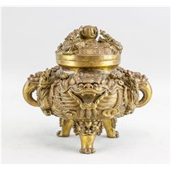 Chinese Gilt Bronze Dragon Tripod Censer Xuande MK