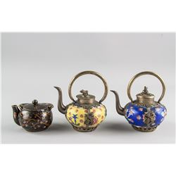 3 Assorted Chinese Bronze and Porcelain Teapots