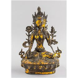 Chinese Gilt Bronze White Tara Statue