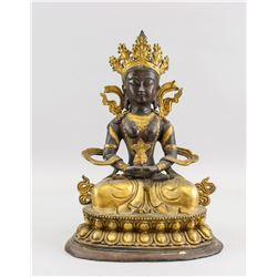 Tibetan Gilt Bronze Amitabha Statue with Mark