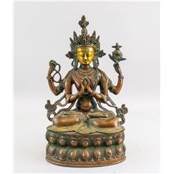 Tibetan Gilt Bronze Four-Arm Guanyin Statue