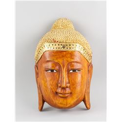 Southeast Asian Wood Carved Shakyamuni Buddha Head