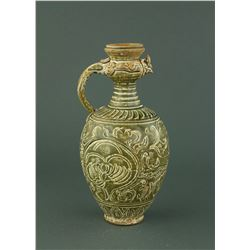 Song Style Green Celadon Carved Porcelain Ewer