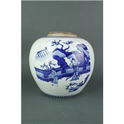 Chinese 17th C. Blue & White Porcelain Jar