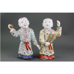Pair Chinese Famille Rose Porcelain Boy Statue