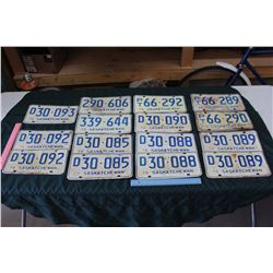 Lot Of Blue 1970's Saskatchewan License Plates, Lots Of Matching And Sequential
