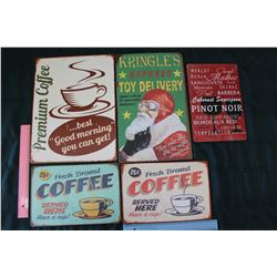 Lot Of Tin Sings (5) (Coffee, Wine, Christmas Related)