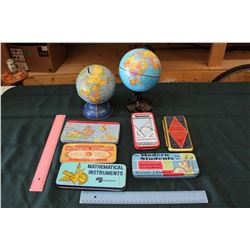 Tin Math Instrument Boxes And Globes