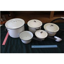 Black And White Enamelware Pots And Pans