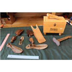 Lot Of Shoe Forms, Shoe Shine Kit, And Other Shoe Accessories