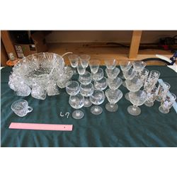 Glass Punch Bowl Set, With Lots Of Glassware