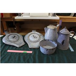 **Lot of Vintage Enamaled Bed Pans, Kettles & Strainer