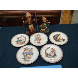 M.J Hummel Collector Plates (5)& Figures (2)