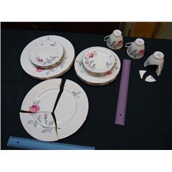 Royal Albert Trent Rose China Dishes (2 Broken Pieces)