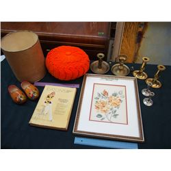 Lot of Vintage Misc: Candle Holders, Eaton's Catalog, Etc