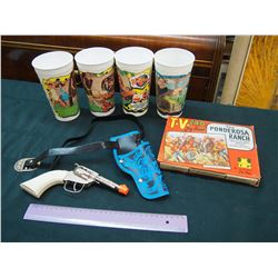 The Ponderosa Ranch Jigsaw Puzzle, Toy Gun& Flintstone McDonald's Cups