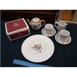 Lot of Assorted Dishware: Royal Albert 3 Piece Tea Set, Tea Pot, Etc