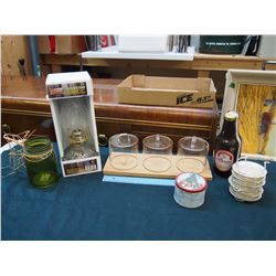 Lot of Misc: Kerosene Lamp, Kitchen Glass Canisters, Etc