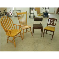 Lot Of 4 Different Wooden Chairs