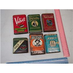 Lot of Pocket Tobacco Tins (6)