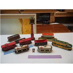 Lot of Vintage Tin Trains & Parts