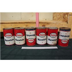 Lot of Marvelube Esso Tins (6, 1 Quart, All Empty)
