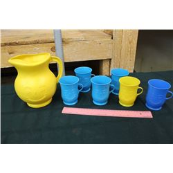 Plastic Kool-Aid Pitcher & Cups