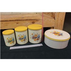 Vintage Floral Decorated Canisters (4)