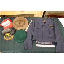 RCAF Jacket- Dated 1963 & Assorted Hats