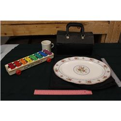 Lot of Vintage Misc: Doctors Bag, Petit Point Serving Plate, Fisher Price Xylophone
