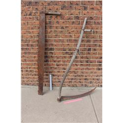 """Vintage long Saw (55"""" Long) and Hay Sickle (29"""" Long Blade)"""