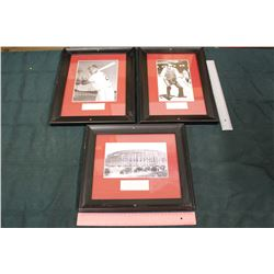 Lot of Vintage Framed Baseball Photos (3)