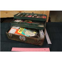 Metal Tool Box with Lots of Fishing Hooks