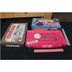 Old Board Games (3)(Pass-Out, Monopoly& Slap-Shot)