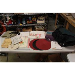 Travel Bag w/Various Table Cloths, A Rug & More